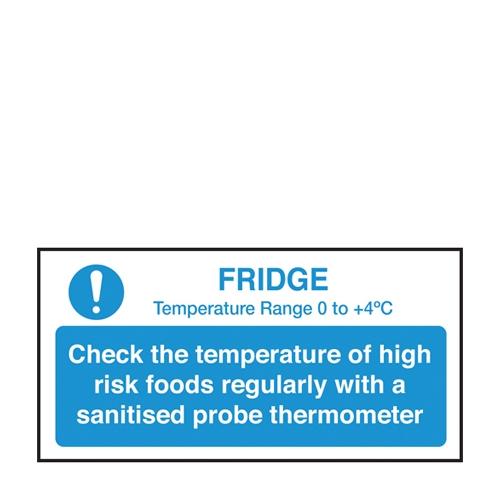 Fridge Temp Check  Self Adhesive Sign 100 x 200mm Blue