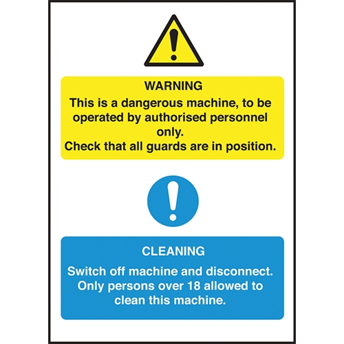 Dangerous Machine Cleaning  Self Adhesive Sign 300 x 200mm Printed