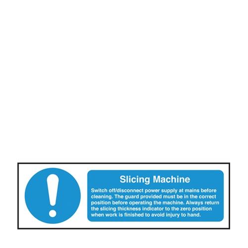 Slicing Machine Saftey Notice Self Adhesive Sign 100 x 300mm Blue