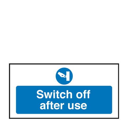 Switch Off After Use  Self Adhesive Sign 100 x 200mm Blue