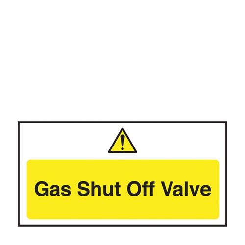 Gas Shut Off Valve Self Adhesive Sign 100 x 200mm Yellow