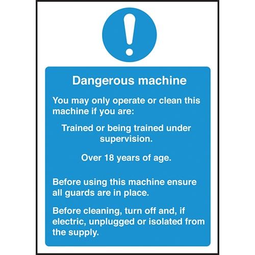 Dangerous Machine Self Adhesive Sign 300 x 200mm Blue