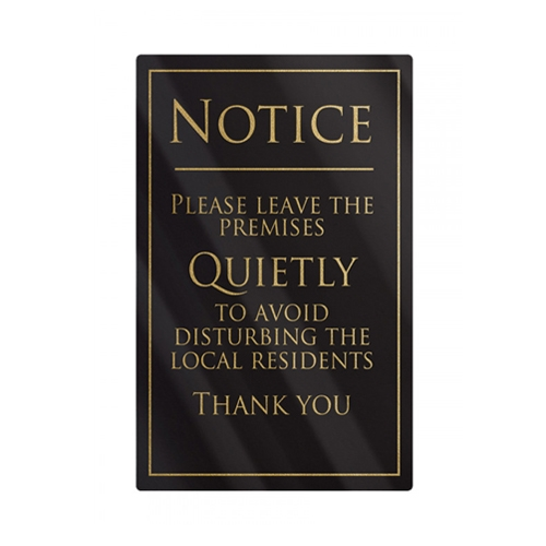 Mileta Rigid S/A Leave Premises Quietly Sign 260x170mm Gold/Black