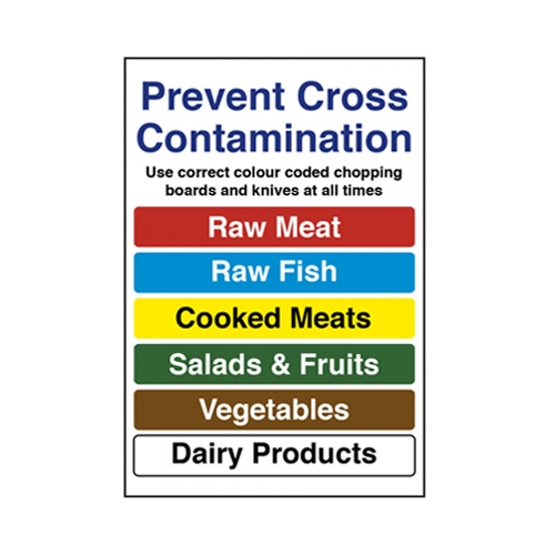Prevent Cross Contamination  Self Adhesive Sign 230 x 160mm Printed