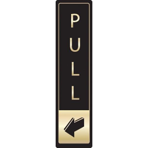 Mileta Vertical Pull Symbol Self Adhesive Sign 43 x 178mm Black/Gold