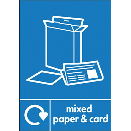Recycle Mixed Paper & Card  Self Adhesive Sign 200 x 150mm Blue