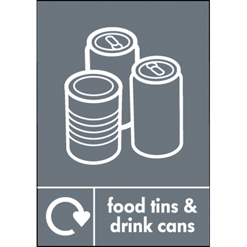 Recycle Food Tins & Drink Cans  Self Adhesive Sign 200 x 150mm Grey