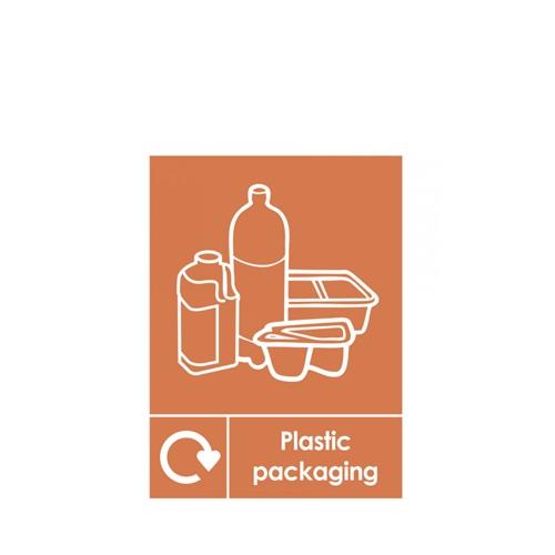 Recycle Plastic  Self Adhesive Sign 200 x 150mm Orange