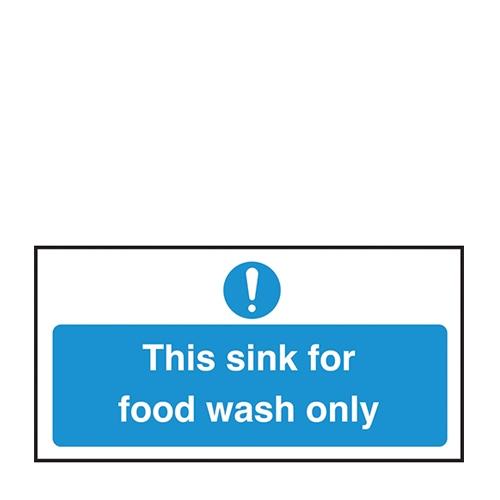 This Sink is For Food Wash Only  Self Adhesive Sign 100 x 200mm Blue