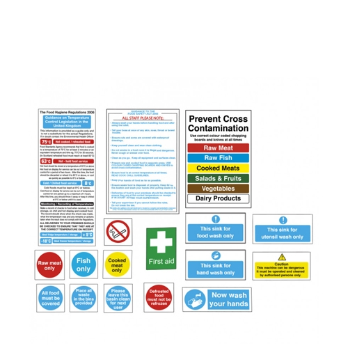 Senior Catering Health & Safety Sign Pack Pack of 17 Printed