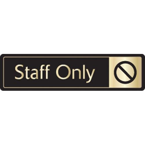 Mileta Staff Only Symbol Self Adhesive Sign 43 x 178mm Black/Gold