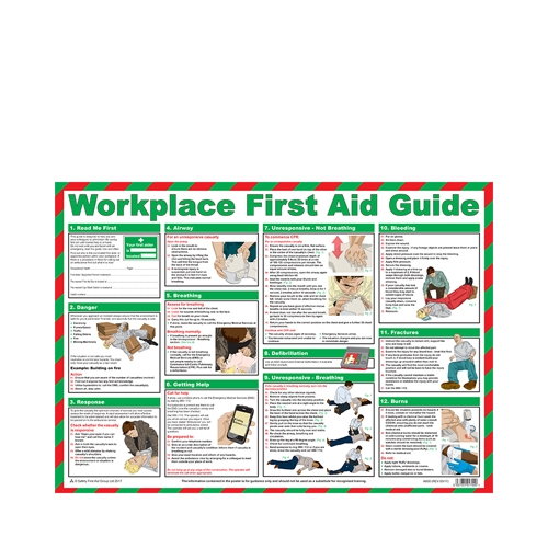 Mileta Workplace First Aid Guide Laminated Poster 420 x 590mm Printed
