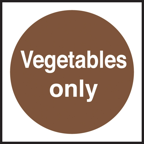Vegetables Only  Self Adhesive Sign 100 x 100mm Brown