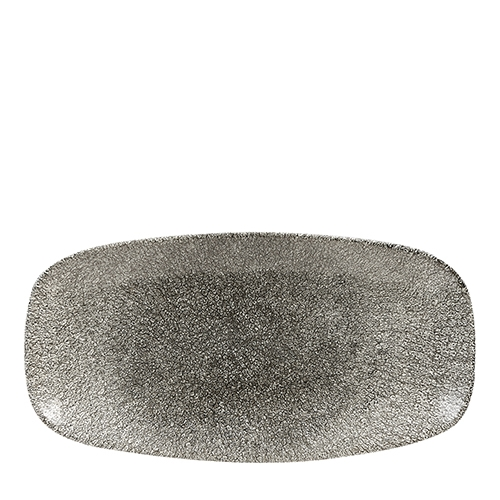 Churchill Raku Quartz Oblong Chefs Plate 29.8cm x 15.3cm Black