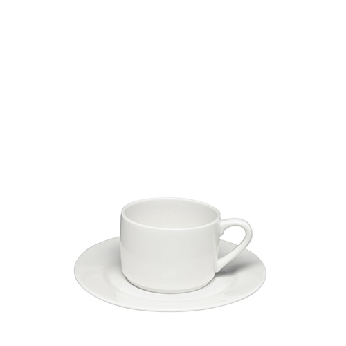 Elia Glacier Bone China Stacking Tea Cup 24cl White