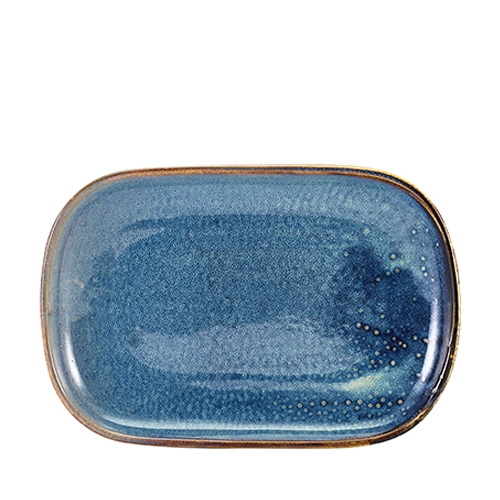 Genware Terra Porcelain Rectangular Plate 34.5 x 23.5cm Aqua Blue