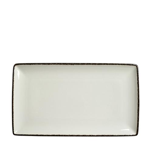 Steelite Dapple Charcoal Rectangle Three 33 x 19cm White/Charcoal
