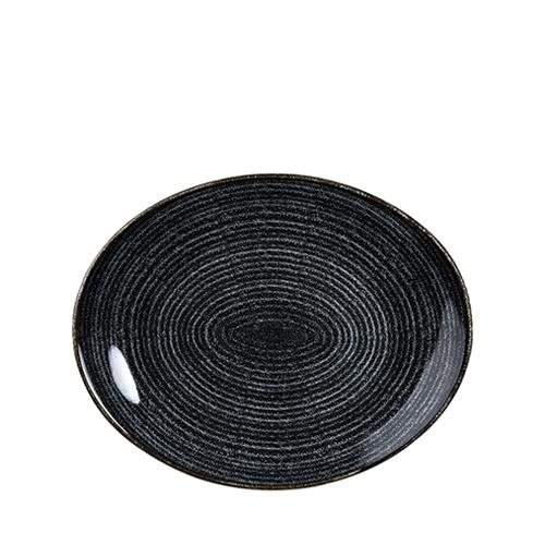 Churchill Studio Prints Homespun Oval Coupe Plate 27cm Black