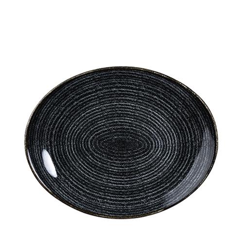 Churchill Studio Prints Homespun Oval Coupe Plate 31.7cm Black