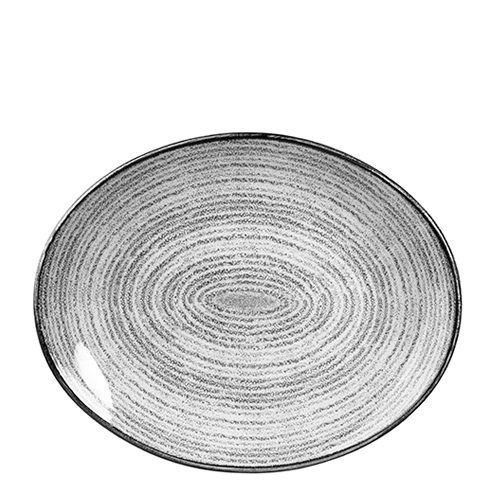 Churchill Studio Prints Homespun Oval Coupe Plate 31.7cm Grey