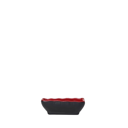 Steelite Karma Melamine Two-Toned Sauce Dish 8.25cm x 6.35cm x 2.5cm Red/Black
