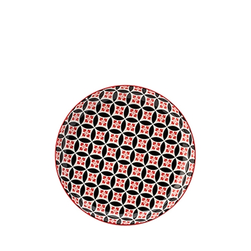 "Utopia Cadiz  Plate 8"" Red & Black"