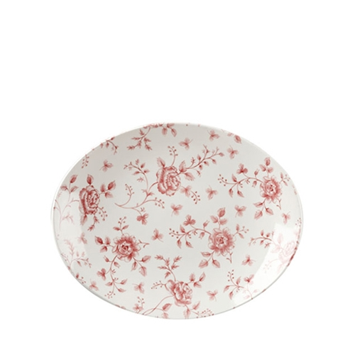 Churchill Vintage Print  Cranberry Rose Chintz Oval Plate 31.7cm  Pink/White