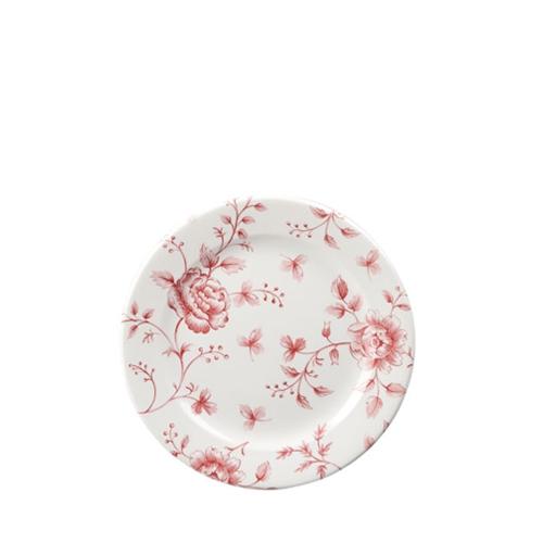 "Churchill Vintage Print  Cranberry Rose Chintz Tea Plate 6.5"" Pink/White"