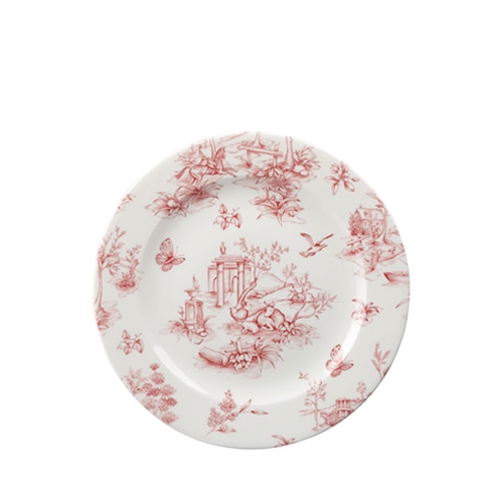"Churchill Vintage Print  Cranberry Toile Tea Plate 8"" Pink/White"