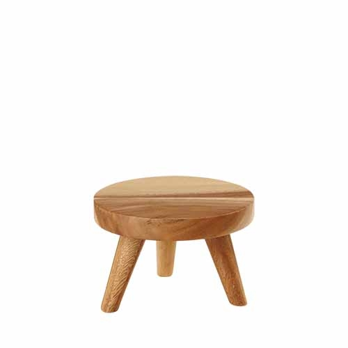 Churchill Round  Wooden Stand Small 15 x 10cm Brown