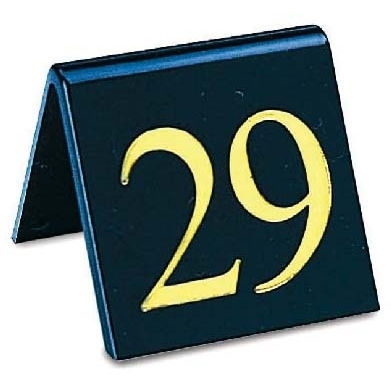Mileta Pack of 1-10 Table Numbers Gold on black