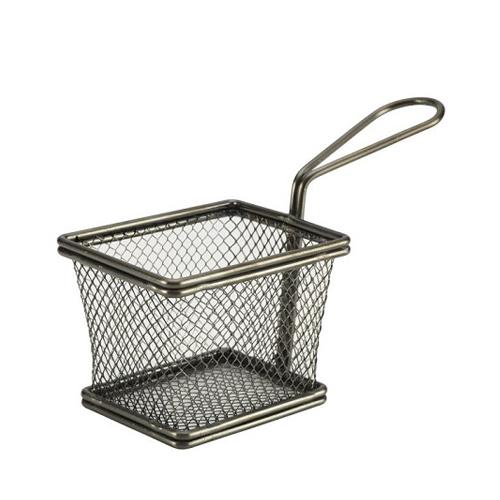 "Black Wire Mini Rectangular Basket 4.9 x 3.9 x 3.4"""
