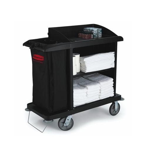 Compact  Housekeeping Trolley 55.9 x 124.5 x 127cm Black