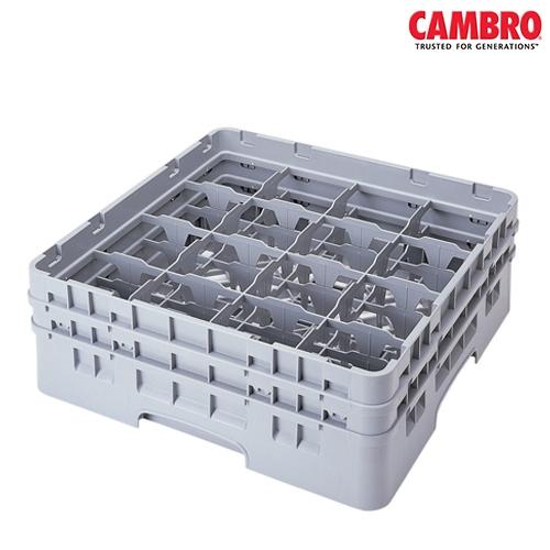 "Cambro  Camrack 16 Compartment Glass Rack Mx. Glass Size H13.2cm x D 10.9cm (5.2"" x 4.3"") Grey"