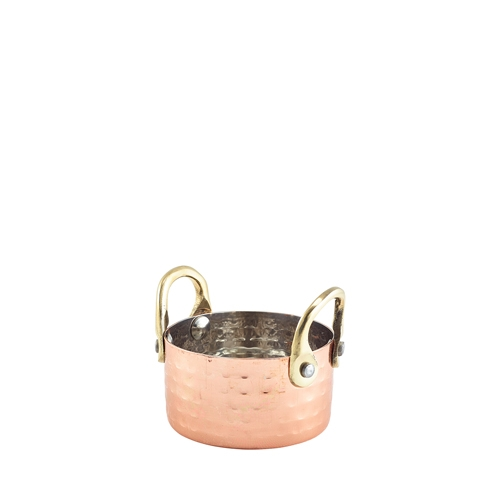 Mini Hammered Copper Plated Casserole Dish 7.5 x 4cm