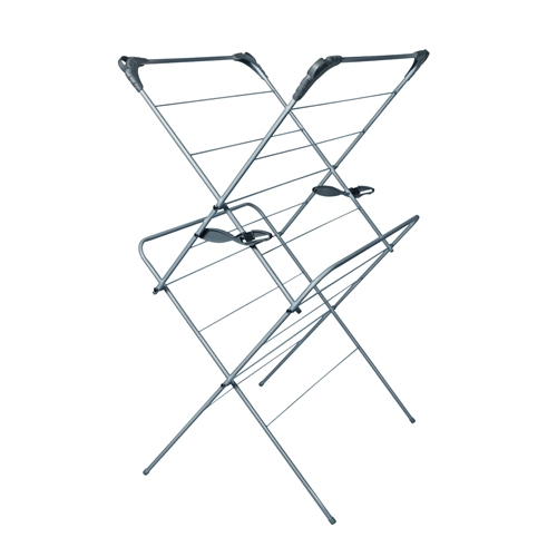 2 Tier  Indoor Clothes Airer 80.5 x 63.2 x 6.8cm  Grey