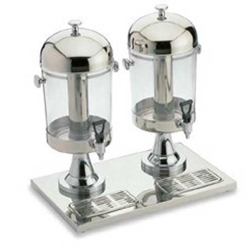 Stainless Steel Twin Juice Dispenser with Ice Tube 2 x 8Ltr Silver