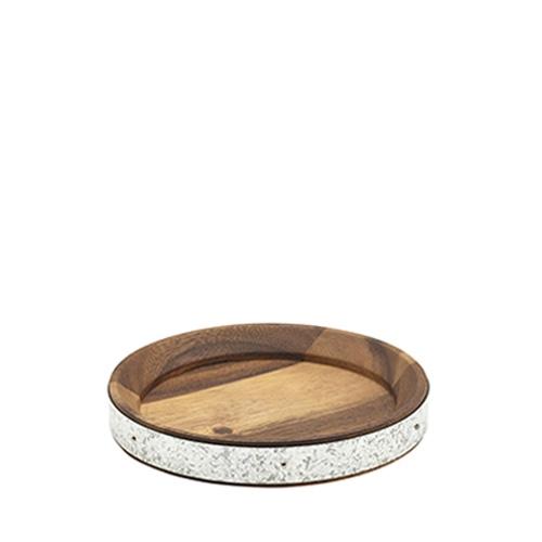 Acacia Wood & Zinc Serving Board 17cm Brown