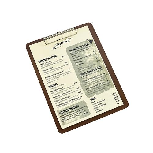 Wooden  Menu Clip Board A4 Brown