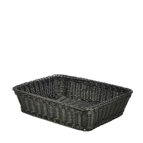 Genware Polywicker Display Basket 36.5cm x 29cm x 9cm Black