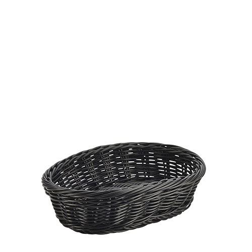Genware Polywicker Oval Basket 22.5cm x 15.5cm x 6.5cm Black