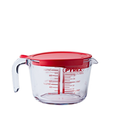 Pyrex Toughened Glass Measuring Jug with Lid 1Ltr Clear