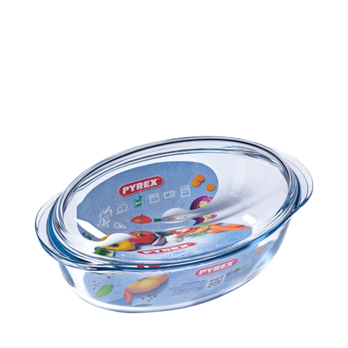 Toughened Glass Lidded Oval Casserole Dish