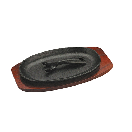 Cast Iron Oval Sizzle Platter with Trivet 9.75