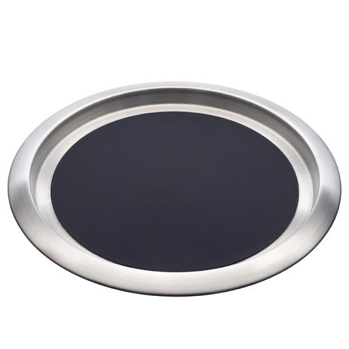 """Elia Stainless Steel Non Slip Round Tray 14"""" Silver"""