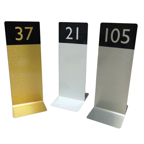 Mileta Brushed Flat Base Table Numbers 1-10 Silver