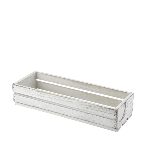 White Wash Wooden Display Crate 34 x 12 x 7cm