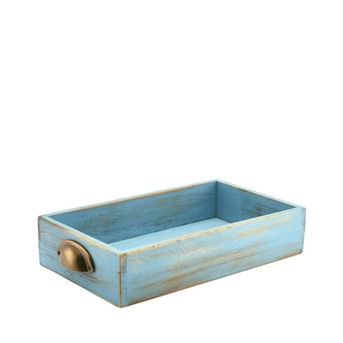Blue Wash Acacia Wood Display Drawer GN 1/3