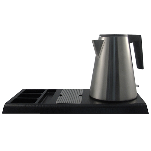 Welcome  Tray with Brushed S/S Kettle 1.2L  Black / Silver