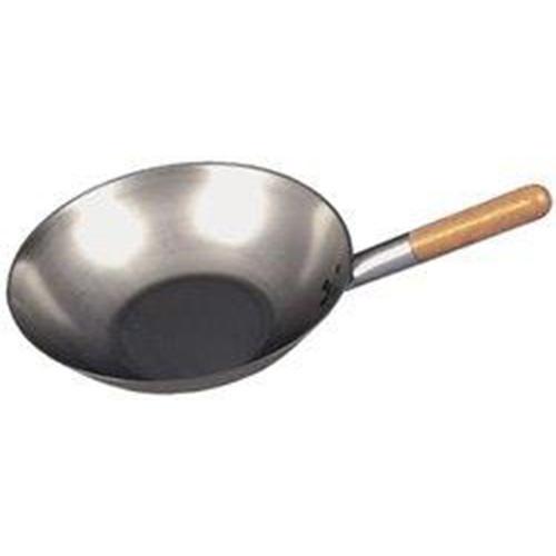 """Black Iron  Flat Base Wok 13.5""""  Silver"""